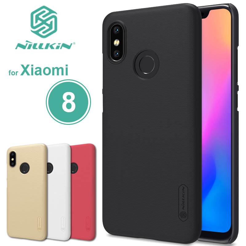 for Xiaomi Mi 8 Case Nillkin Super Frosted Shield Hard Back PC Cover Matte Case for Xiaomi Mi8 M8 Phone Case + Screen Protector