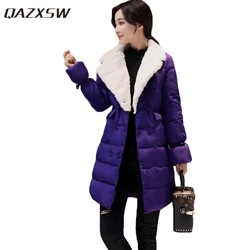 QAZXSW 2017 Women Winter Cotton Coats Turn Down Collar Jacket Slim Long Parkas For Girl Double Breasted Jaqueta Feminina HB232 qazxsw 2017 new winter cotton coat women long parkas thick velvet double breasted lamb winter jacket women suede jackets hb321