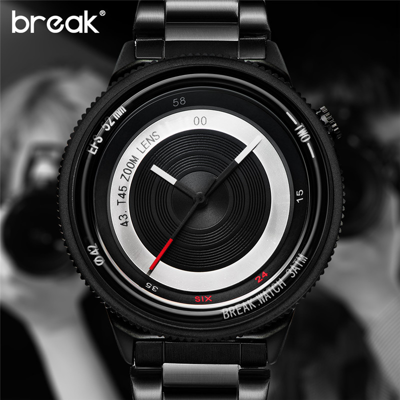 где купить BREAK Mens Watch Unique Design Man Clock Fashion Casual Sports Cool Women Lover Quartz Watch Photographer Creative Wrist Watches по лучшей цене