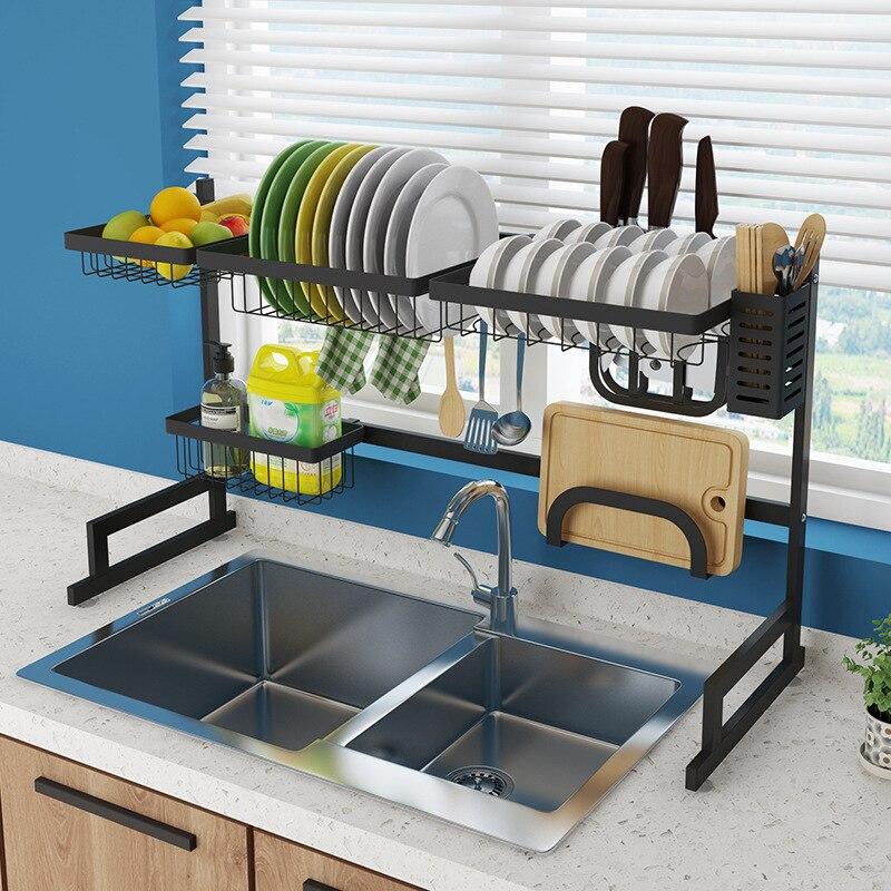 رف مطبخ منظم رف لتجفيف الأطباق على بالوعة الأواني حامل عاء طبق استنزاف رف المطبخ تخزين كونترتوب المنظم-في حوامل ورفوف من المنزل والحديقة على  مجموعة 1