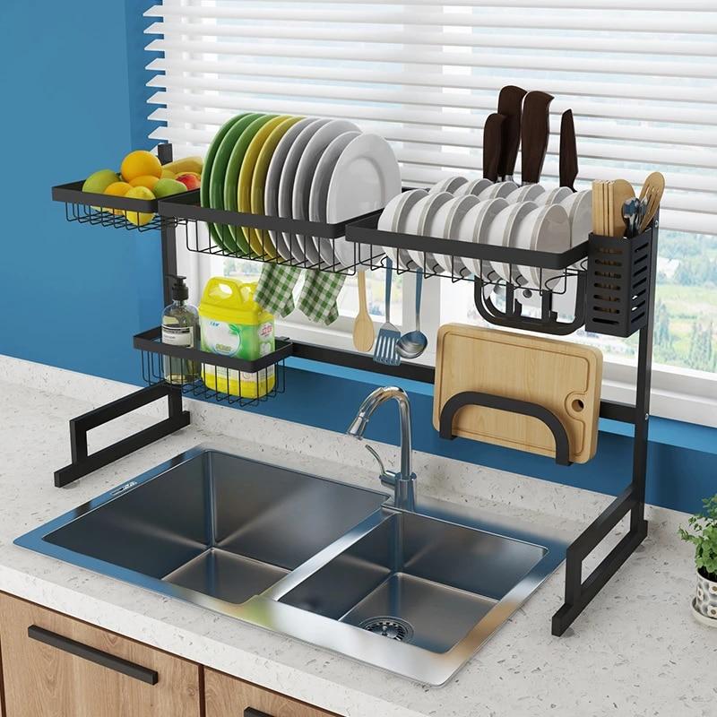 etagere de cuisine organiseur plat etendoir sur evier porte ustensiles bol plat egouttoir cuisine rangement comptoir organisateur