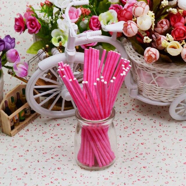 Online Shop Behokic 100pcs 15cm Solid Paper Lolly Lollipop Cake Pop ...
