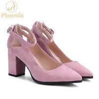 Phoentin rose cheville sangle femmes chaussures carré haute talon pompes 2018 nouveau loisirs dames chaussures bout pointu évidé conception FT347