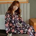 2016 японской печать хлопок весной наборов женщины пижамы пижамы девушки ночь домашней одежды для женщин ночной рубашке домашней одежды