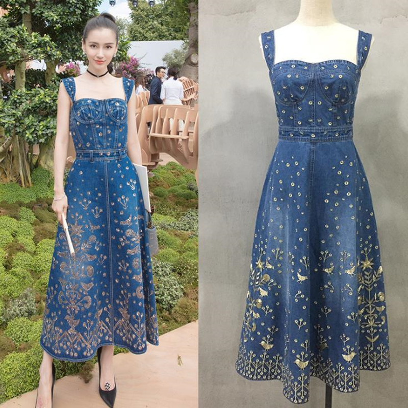 UNIQUEWHO Girls Women Vintage Blue Denim Dress Birds Embroidery Maxi Dress Slim Sexy Evening Party Dress for Spring Summer 2018
