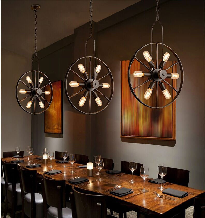 612/18 Head American Industrial Country Black Color Wheel Dining Room Chandelier Coffee Shop Decoration Light  Free Shipping