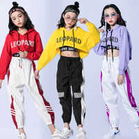Kostiumy do tańca jazzowego Hip Hop dzieci z długim rękawem bluza z kapturem kamizelka spodnie dziewczyny odzież Hip hopowa taniec uliczny pokaz sceniczny nosić DNV10416