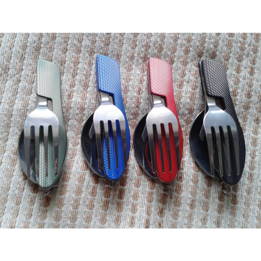 3 in 1 Folding Stainless Steel Spoon Fork Knife Tableware Multitool for Camping mommy love