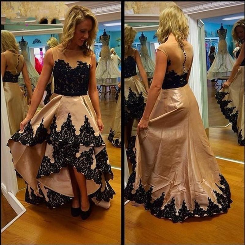 Lace Appliques High Low Prom Dresses 2017 Champagne Taffeta Sheer