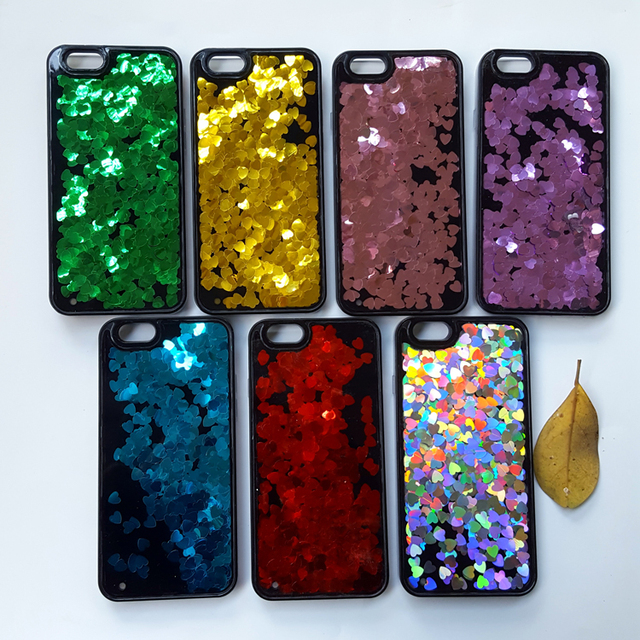 quality design 89b7f b322b US $2.53 5% OFF|Flowing Water Liquid Case For iPhone X 8 7 7Plus 6 6S Plus  5 5s SE Shell Paillette Glitter Stars Soft Silicone TPU Covers-in ...