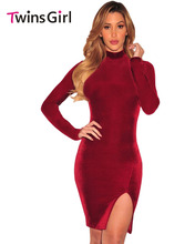 Elegant Autumn Dress Black Velvet Mock Neck Long Sleeves Dress Party vestidos LC22894 Sexy Slim Solid Robes Vestidos