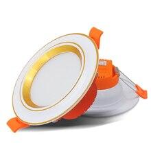 LED 3Color Downlight Spot Light Discolourable 3W Recessed Mount AC220V Led Bedroom Kitchen Indoor Lighting