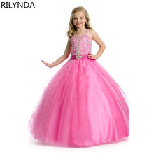 toddler girl dresses pink pageant ball gown for girls halter beading long pink pageant dresses for little flower girls size