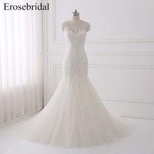 Mermaid Wedding Dresses Erosebridal 2019 Plus Size Dress Lace Bridal Gown Sleeveless Vestido De Noiva B-T656 Button