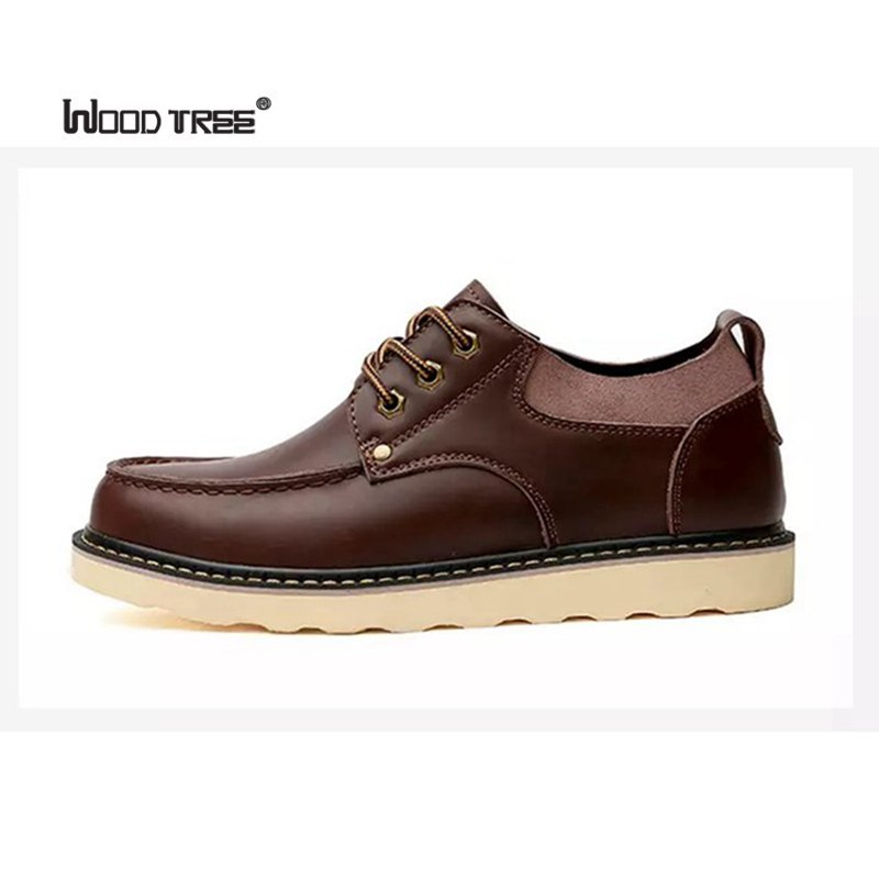Woodtree  Luxury Genuine Leather Men Shoes Brogue Lace Up Platform Fashion Man Flats Casual Male Shoes Black Brown Red Plus Size cbjsho brand men shoes 2017 new genuine leather moccasins comfortable men loafers luxury men s flats men casual shoes
