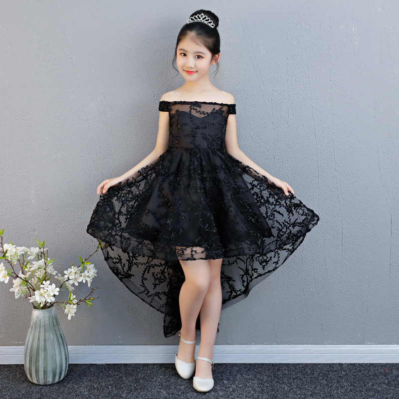 5 Styles Black Kids Flower Girl Dresses Wedding Birthday Party Ball Gown Floral Appliques First Communion Gowns Princess Dress gown