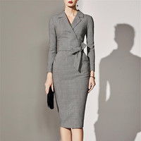 Plus Size 5XL 2019 Women Spring Office Vinatge Elegant Party Dresses Bodycon Sexy Midi Long Sleeve Dress