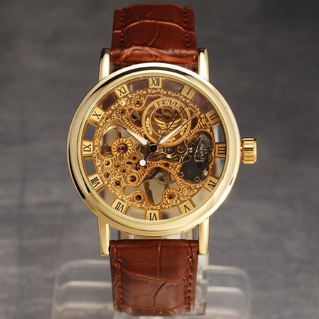 2016 nova moda retro caso fina vento mão mecânica esqueleto do relógio de pulso dos homens com pulseira de couro ocasional relógios de pulso clássico presente