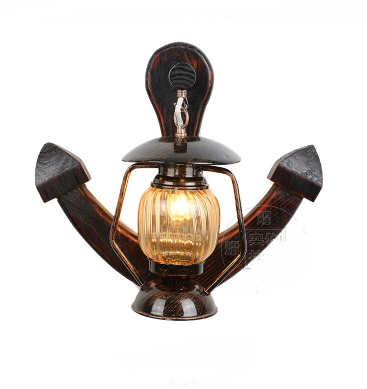 Le Chinois restaurant lumières rétro personnalité créatrice allée ancre en bois lanterne en plein air lampe de mur mur lampe YA7263
