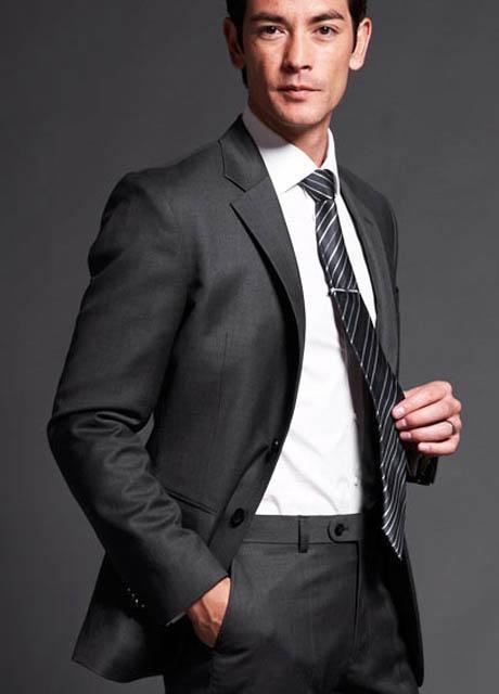 Dark Grey 2 Pieces Men Suits New Laster Deign Slim Fit Business Gentle-Mens Bridegroom Suit Ternos Masculino Groom Suit