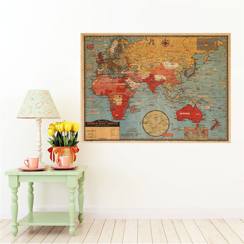 Vintage retro paper world map poster wall sticker living room vintage retro paper world map poster wall sticker living room bedroom office cafe restaurant wall decals home decor map of world in wall stickers from home gumiabroncs Choice Image