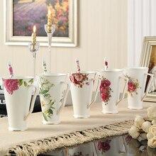 5-Types Wählen hochwertigen Bone China Tee Kaffeetassen Becher Mit Löffel Luxus Porzellan Keramik Kaffee Becher Für Teatime