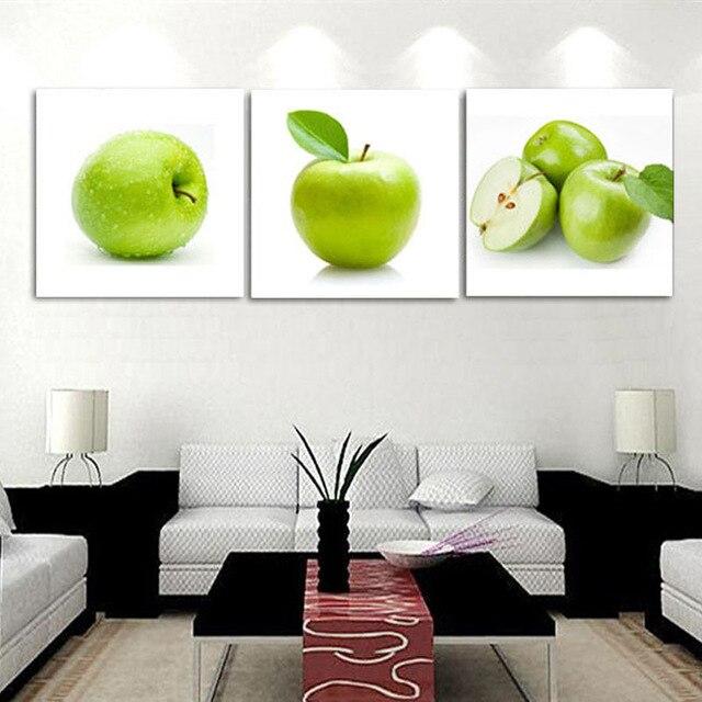 Unframed 3 pz Verde Mela Cucina Moderna Decorazione Domestica HD ...