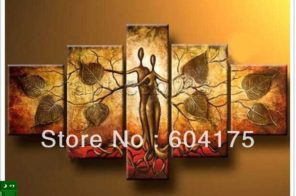Wholesale Red Gold Leaf Tree Abstract Living Room