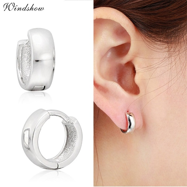 925 Sterling Sliver Loop Circles Wide Small Huggies Hoop Earrings For Women S Men Jewelry Anti