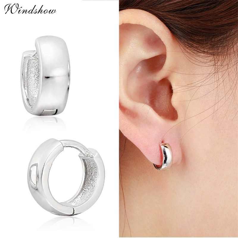 27fc342429502 925 Sterling Sliver Loop Circles Wide Small Huggies Hoop Earrings For Women  Girls Men Jewelry Anti-Allergic Aros Aretes Ohrringe