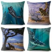 Cartoon Africa Pattern Linen Cushion Cover 45*45cm Car Pillow Case Sofa Decor Printed Jurassic Animal Dinosaur Pillowcases
