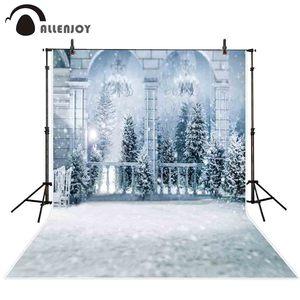 Image 2 - Allenjoy photography background winter wonderland Frozen palace balcony snow Christmas forest backdrop photocall photobooth