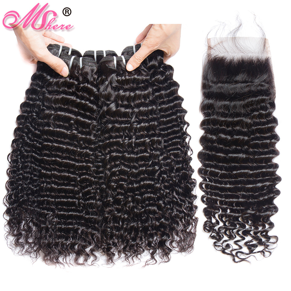 Deep Wave Human Hair Bundles With Closure Peruvian non Remy Hair Weave Extensions 3 Bundles With