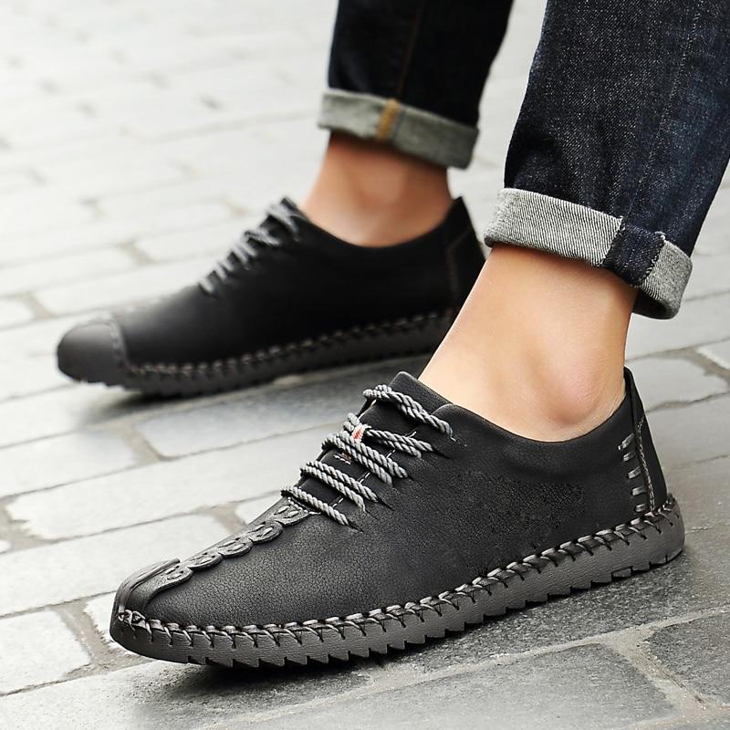 Bimuduiyu 2017 primavera moda nova super fibra de couro macio confortável masculino sapatos casuais portátil condução sapato laços apartamentos - 4
