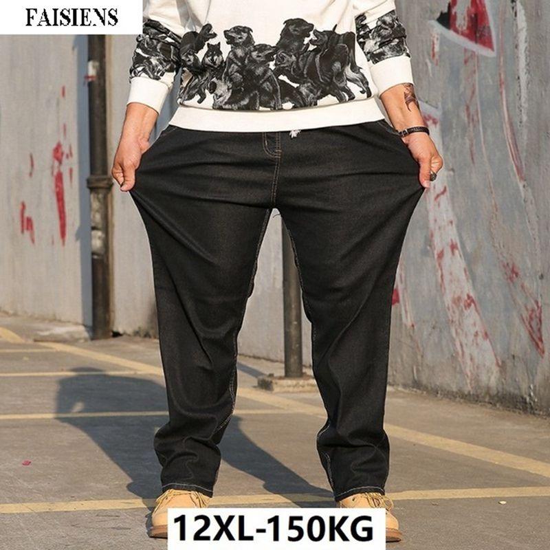 Large Size Big Men Jeans 10XL 12XL Trousers Business Office Pants High Waist Elasticity Straight 8XL Autumn Winter Stretch Jeans