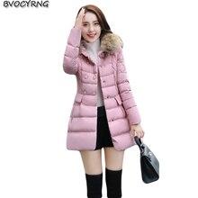 2017New Women Winter Coat Heavy Hair Collar Double-breasted Eiderdown Cotton Jacket Coat Fashion Medium Style Warm Parka Q748