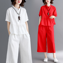 #0828 White Red Stand Collar Shirt Short Sleeves Split Joint Ruffles Top And Wide Leg Pants Casual 2 Piece Outfits For Women цена и фото