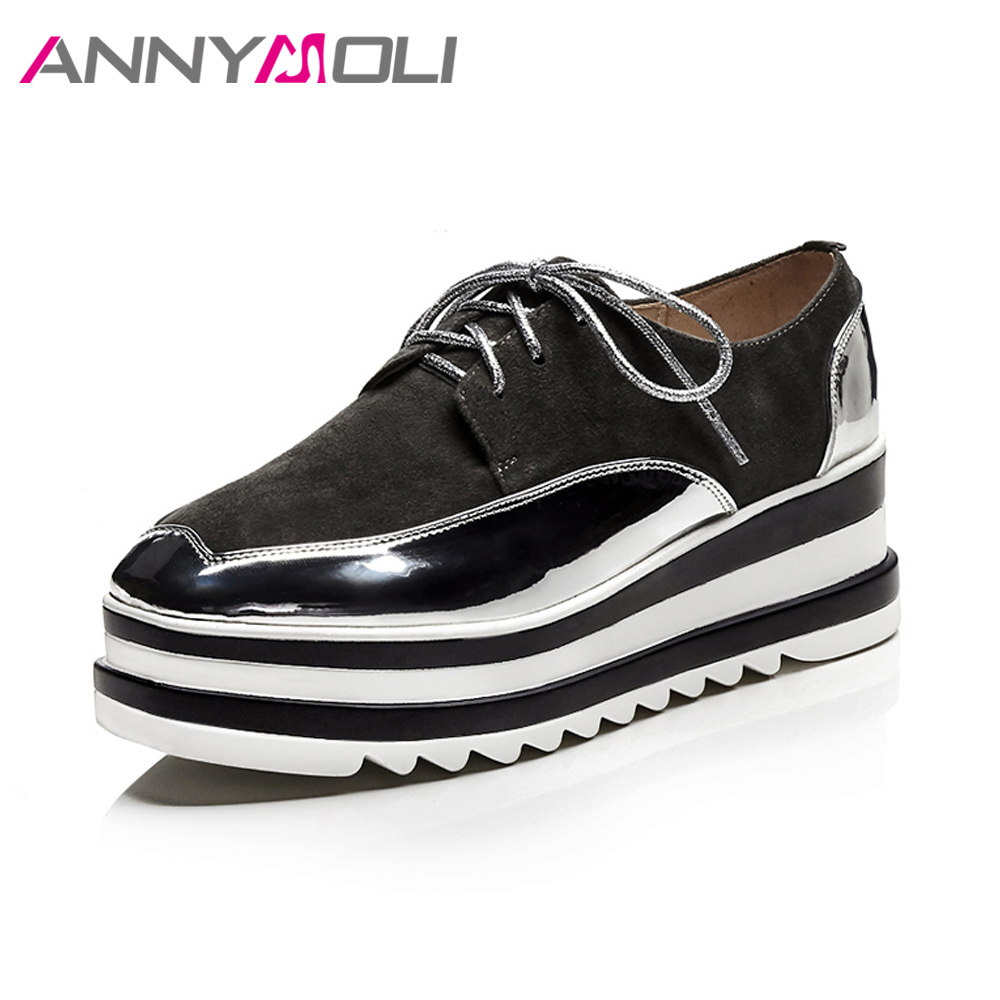 ANNYMOLI Genuine Leather Shoes Pumps Women Platform High Heels Casual Shoes Wedges Suede Lace UP Spring Shoes 2018 Female Black zorssar autumn ladies shoes wedge high heels women platform pumps fashion casual lace up genuine leather suede womens shoes