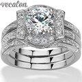 2-em-1 Vecalon 3ct Cz diamante Wedding Band Engagement Jóias Rodada Conjunto anel para As Mulheres 14KT White Gold Filled Partido Feminino anel