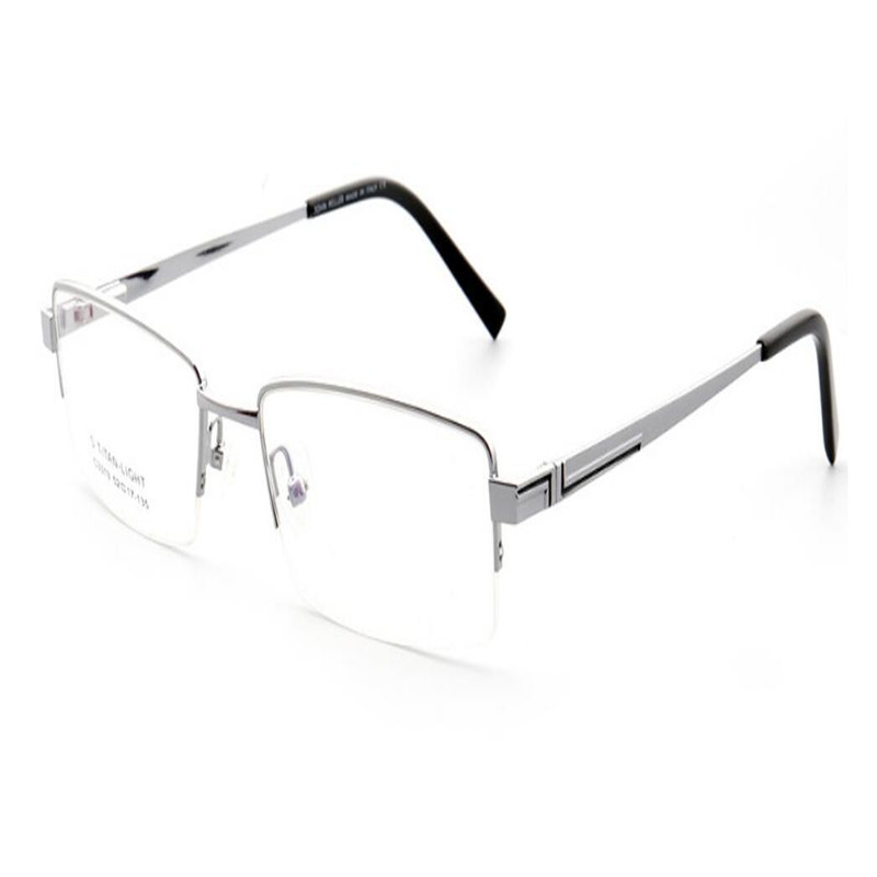 Men's Glasses Modest Mongoten Business Fashion Men Half Rim Alloy Square Frame Myopia Eyeglasses Frame Black Silver Clear Lens Goggle Optical Eyewear Clear-Cut Texture