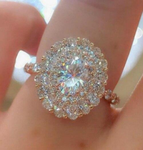 Luxury Female Crystal White Zircon Stone Ring Fashion Wedding Jewelry Promise Engagement Rings For Women(China)