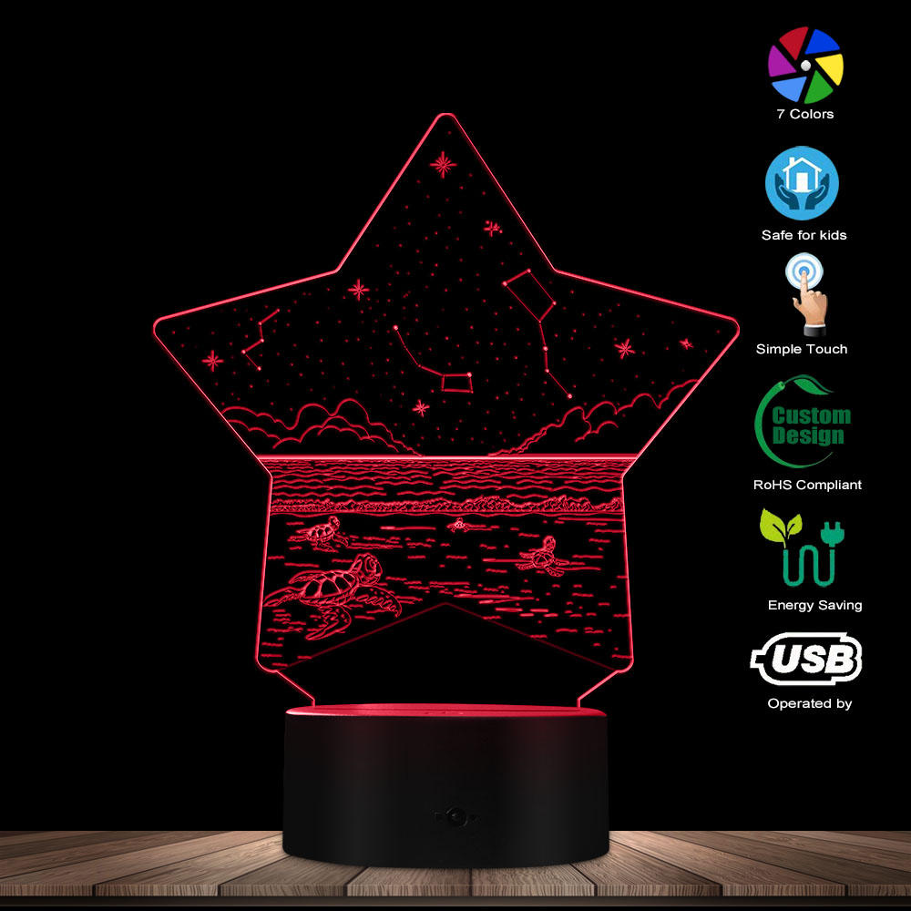 Night Seaside Turtles USB Table Lamp 3D Optical Illusion Starry Sky Evening Sea View Plexi Glass Five-pointed Star LED Lamp