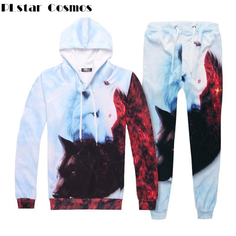 PLstar Cosmos Men/Women 2 Piece Set Top And Pants 3d Fox Print Loose Hoodies Pant Unisex Suit Autumn Tracksuit Casual Pullover