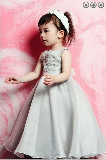 New Sashes Actual Images Tank Organza A-line Special Offer 2016 Wedding Party Gowns Beaded Detachable Train   Flower     Girl     dress