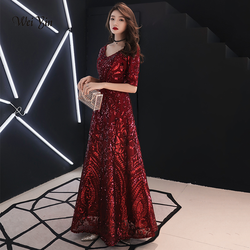 weiyin Robe De Soiree 2019 Wine Red The Elegant V-neck A-line Half Sleeve Evening Gown Wine Red Sequin Vintage Evening Dresses