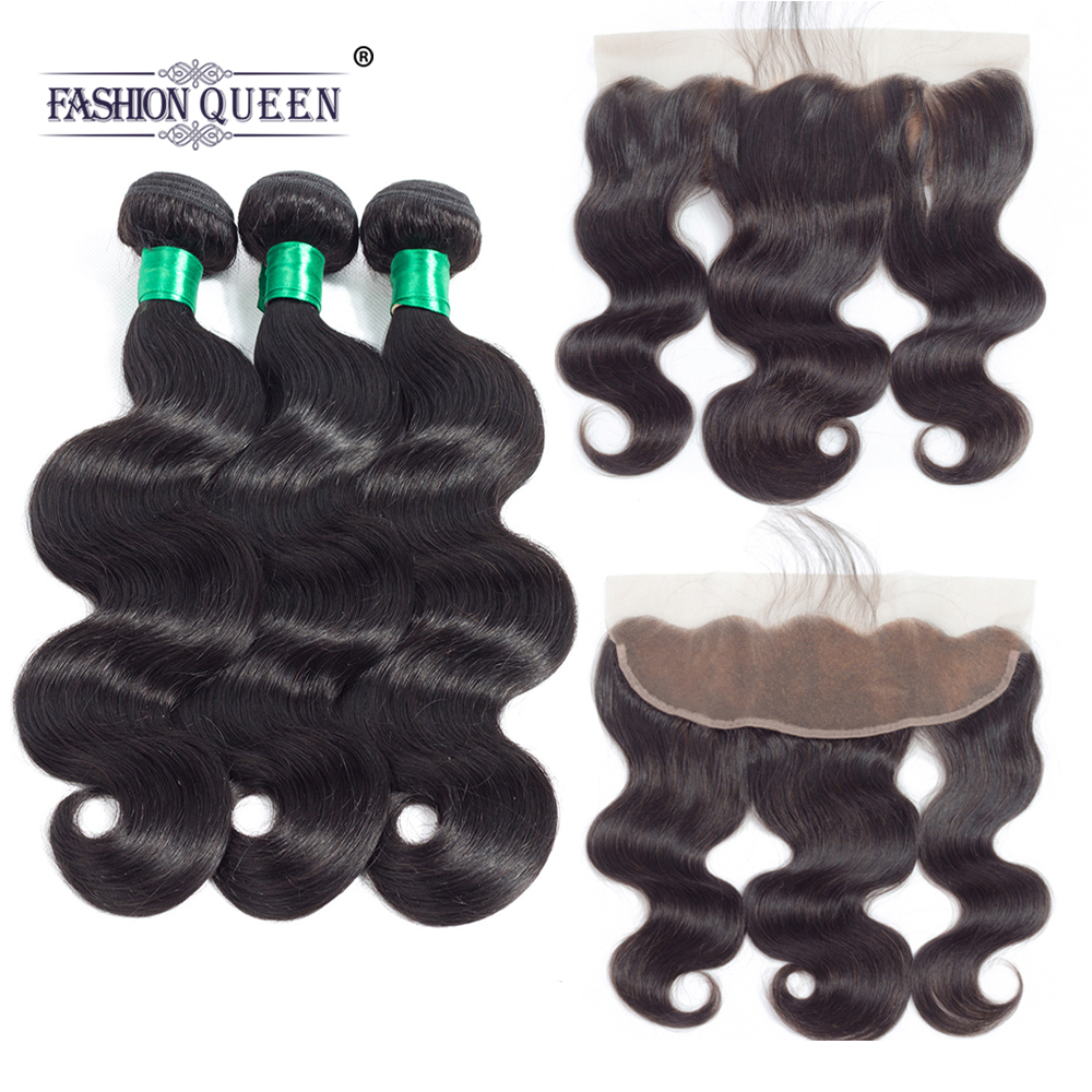 Fashion Queen Body Wave 100%Malaysian Human hair 3 Bundles With 13*4 Frontal Non Remy Hair Natural Color Free Part Free Shipping
