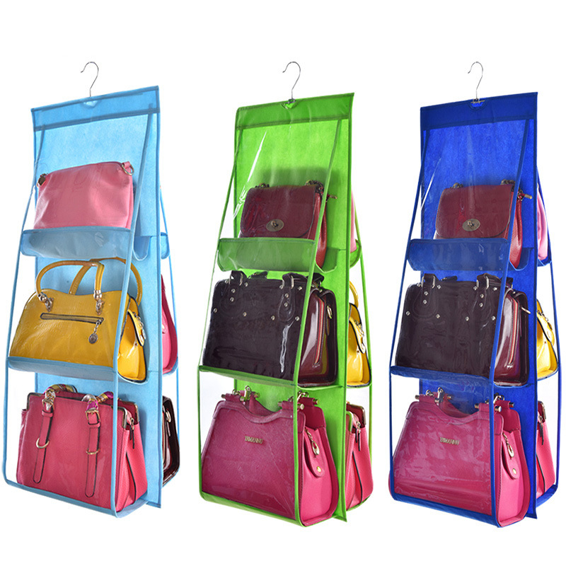Storage Bags Impartial 6 Pockets Hanging Storage Bag Purse Handbag Tote Shoes Storage Organizer Rack Hanger Storage Accessories 100% Original
