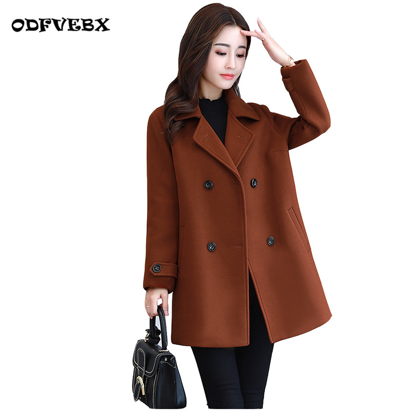 Fine wool coat women autumn winter 2019 new medium long fashion large size loose Nizi double breasted short woolen coat ODFVEBX
