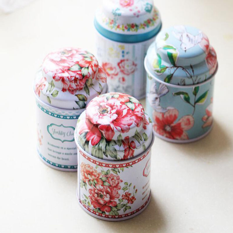 Hot Candy Jar Tin Cans Flower Printed Europe Style Tea Receive Box