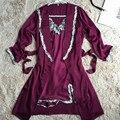 Alta Qualidade Mulheres Sexy Camisola Robe de Seda Cinta Conjunto Vestido + Robe Sleepwear Feminino de Duas Peças Roupa Transporte da gota